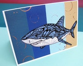 Greeting Card Shark Zentangle  - Art - Blue - Boys - Blank - Ocean