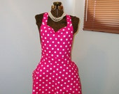 SALE hot pink polka dot retro hostess apron