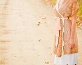 SALE- My Dear No.8-Womans Robe/ Bath Robe/ Romantic Inspired Lounging Robe/ Browns/ Peach/ Seafoam Green