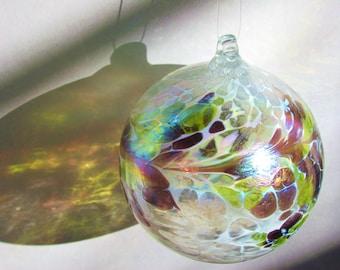 Hand Blown Glass Spirit/ Friendship Ball Christmas Ornament Purple, Yellow and White Iridized Twist