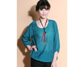 Ethnic Style Drawstring Silk Blouse with Handmade Butterfly Buttons / Any Size/ 22 Colors/ RAMIES
