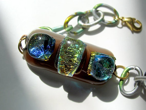Fused Glass Dichroic Nugget Bracelet