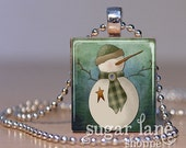 Snowman with a Star Necklace - (SBF4 - Green, Blue, Yellow, Winter White) - Scrabble Tile Pendant Necklace