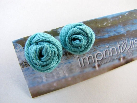 Turquoise Cotton Twill Wrapped Rosebud Stud Earrings