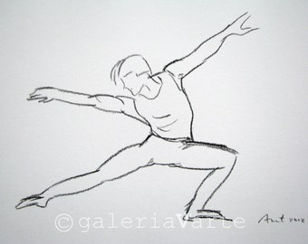 Charcoal drawing - original - modern dance - painting - europeanstreetteam