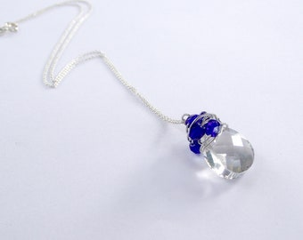 SALE. Swarovski crystals, on top quality Italian silver chain, Cobalt blue crystals, sterling silver chain