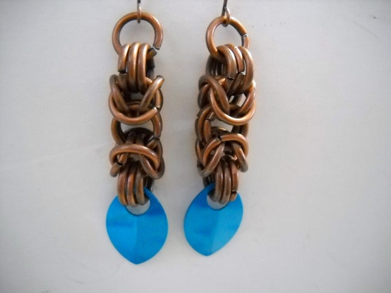 Antique Copper BYZANTINE Chainmaille and Turquoise Scale Dangle EARRINGS