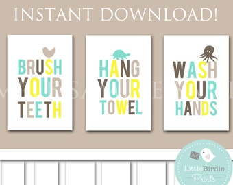 BATHROOM WALL ART - Wash your hands - Brush your teeth - Hang your towel -  Instant download Printable - Kids - Owl Bird Turtle
