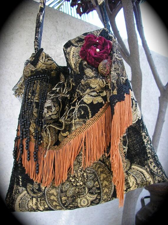 Gypsy Carpet Bag black fringed bohemian granny tapestry bag handmade shoulder fabric purse LARGE