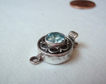 Sterling Silver Box Clasp Round Synthetic Blue Spinel Qty. 1