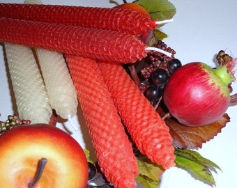 Autumn Beeswax Candles - Beeswax Candles for Fall - Beeswax Candles - Orange Beeswax Candles - Natural Beeswax Candles - Rust Beeswax Candle