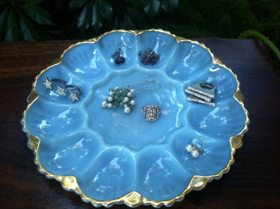 Anchor Hocking Fire King Deviled Egg Tray, Jewelry Organizer in Rare Turquoise Blue with Gold Rim, Jewelry Organization