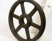 Pulley - Industrial, Printing Press, Iron, Vintage