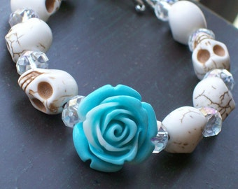 Sugar Skull Jewelry Day of the Dead Marbled Blue Rose and Sugar Skull Bracelet Halloween jewelry