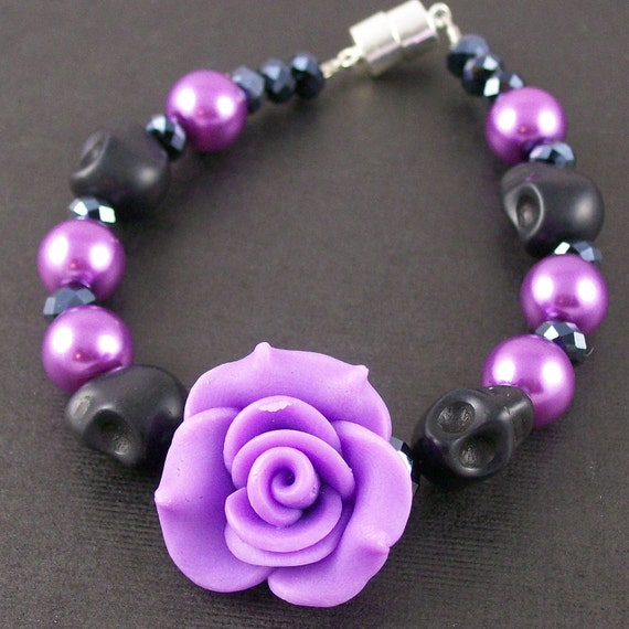 Purple Rose and Black Skull Bracelet