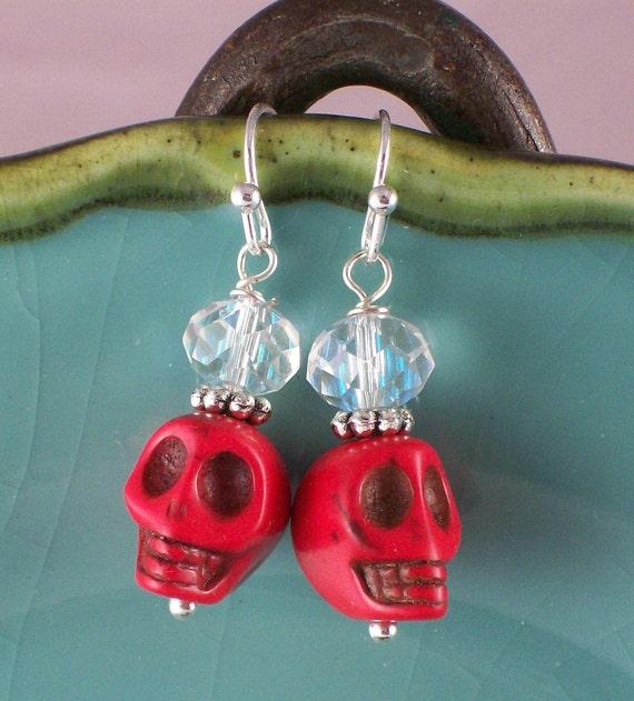 Rockabilly Skull Earrings Red Sugar Skull Earrings