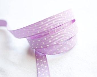 Light Purple Swiss Dots  3/8 inch Grosgrain Ribbon - Hairbow Supplies, Etc.