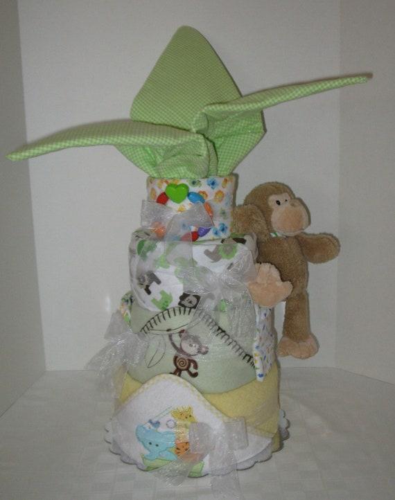 Palm tree diaper cake jungle safari monkey baby cake shower gift