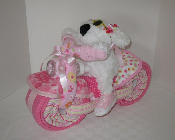 Diaper Cake Motorcycle Bike Diaper Cake,  Baby Shower Gift, Centerpiece, Baby Cake,  Baby Girl Gift, New Baby