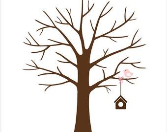 Baby Shower Guest Book Fingerprint Tree, baby bird - Birthday Fingerprint Tree - Custom color, size, text - DIGITAL PRINTABLE JPEG