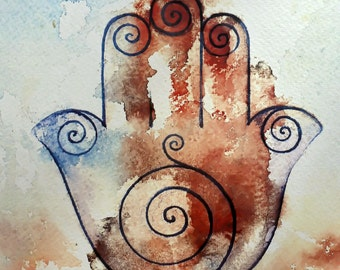 Hamsa Healing Hand - Art Print of a Watercolor Painting  - 10x8 inches