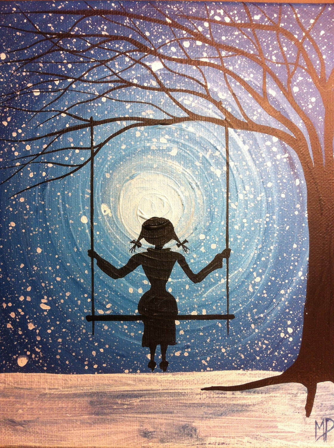 Girl on swing painting-I will wait forever 10 x 8 acrylic on