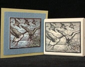 migrating birds rubber stamp