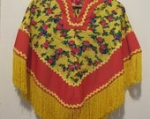 Vintage red and yellow floral poncho cape with fringe