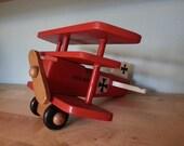 Red Baron - Vintage Wooden Bi-plane toy
