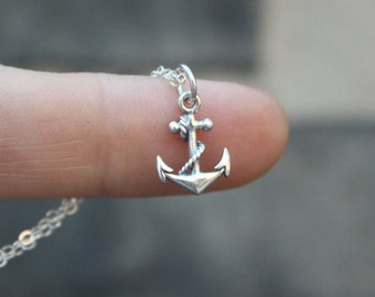 Silver Anchor Necklace - Sterling Silver Anchor Pendant and Chain . Navy Wife Gift, Necklace . Gift Ideas for Coastie