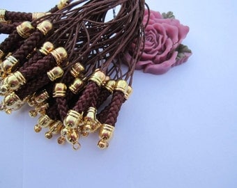 Cell Phone --20 pcs Raisin Strap Lanyard Mobile Cell Phone Lariat Chains Connectors With Gold Metal Top-75x5mm