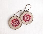 Cross stitch earrings Ethnic ornament in melange red - e010