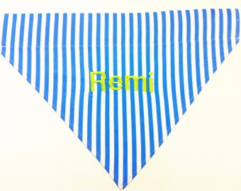 Monogrammed Dog Bandana - Blue Stripes