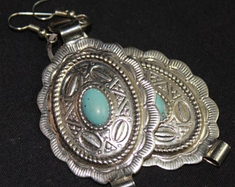 Vintage upcycled Silver and Turquoise Southwest Style Earrings E 9