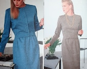1980s Very Easy Vogue Career Dress Sewing Pattern 7633 Size 12 14 16 Bust 34 36 38