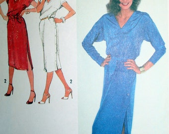Vintage Pullover Dress and Tie Belt Sewing Pattern Simplicity 9285 Size 12 Bust 34