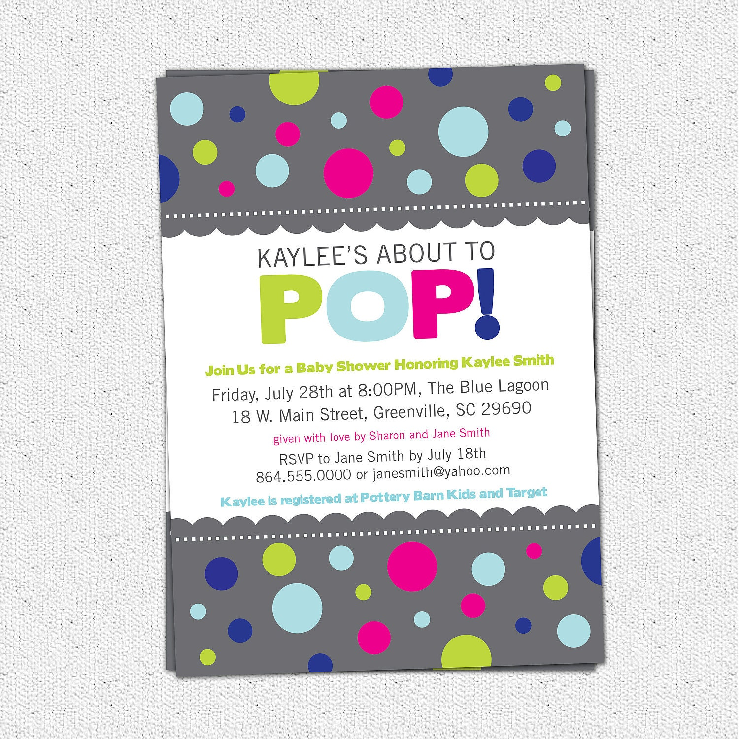 about to pop baby shower invitation printable mod dots boy