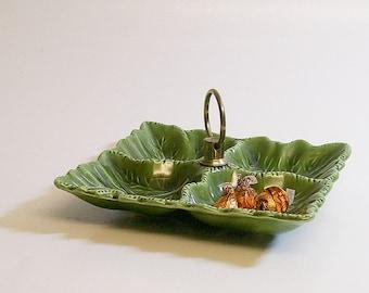 Vintage Divided Serving Dish Ceramic Green Leaf