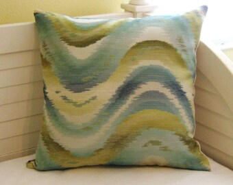 Waves Aqua and Green  Pillow Cover