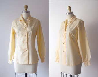 vintage peach cotton blouse / embroidered blouse