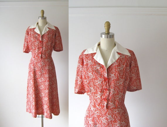 vintage 1940s dress / 40s dress / Red Rockets