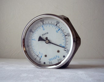 large vintage pressure gauge - enfm - stainless steel - made in holland - industrial steampunk