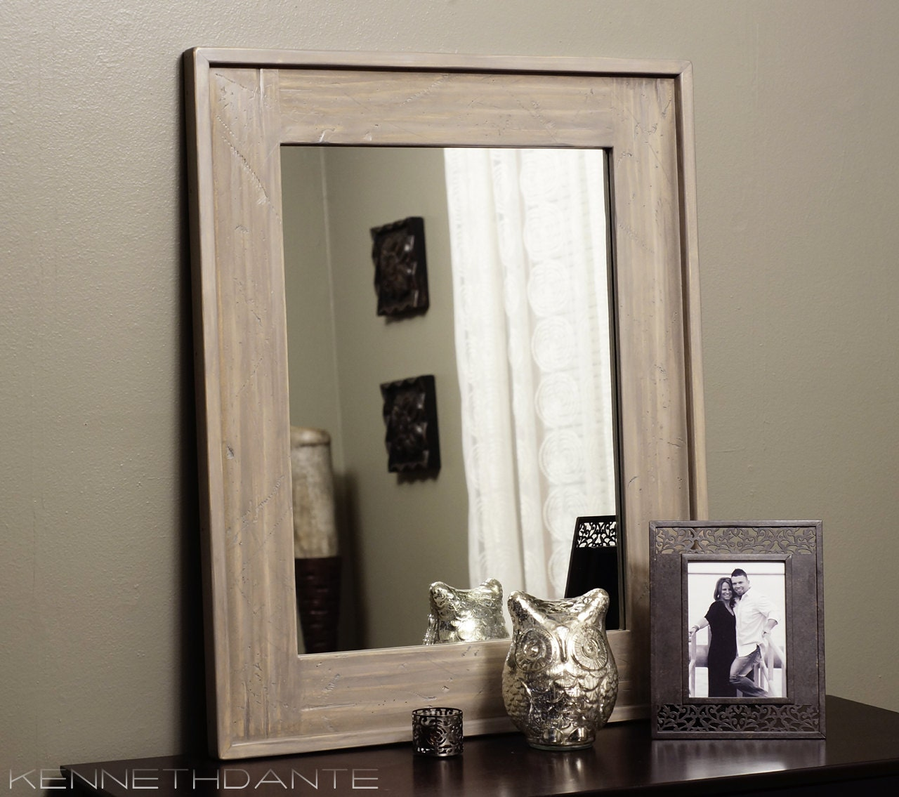 Distressed Wood Mirror Weathered Natural Taupe by KennethDante