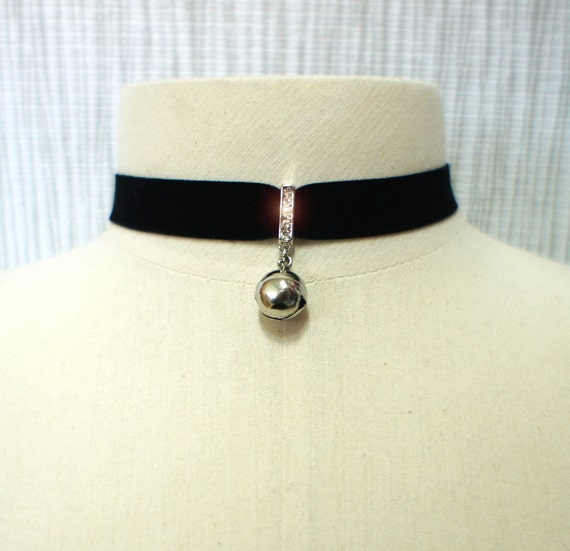 Sexy Cats Bell Black VELVET CHOKER Necklace with adjustable chain