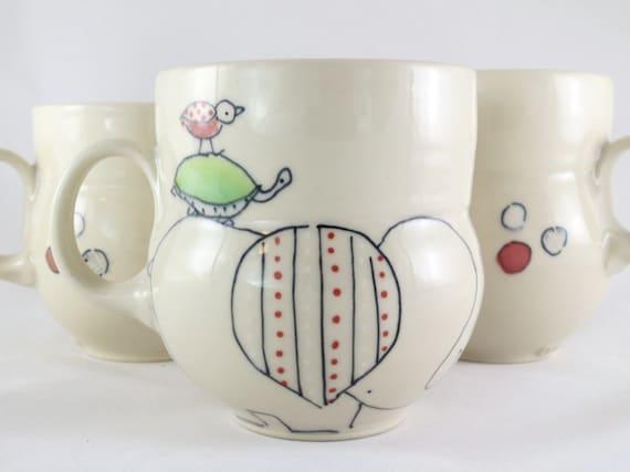 Handmade Ceramic Coffee Mug- Pile O' Animals Mug