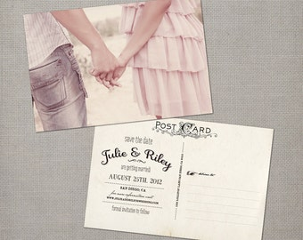 """Vintage save the date cards / Vintage Printable Save the Date / Save the date postcard / Save the dates / Save the date cards - the """"Julie"""""""