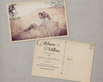 "Save the Date / Save the Date Cards / Save the Date Postcard / Photo Save the Date / Vintage Save the Date Card - the ""Melania"""