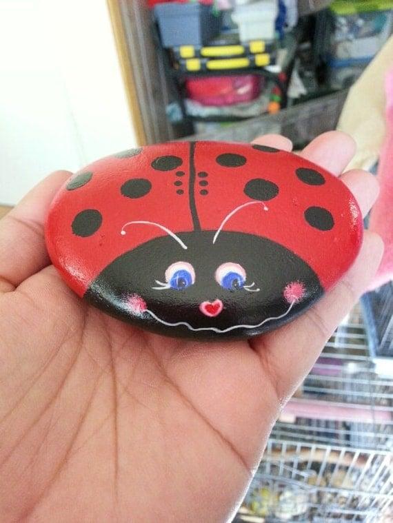 Hand Paint Ladybug Pet Rock Paperweight Garden Home Decor