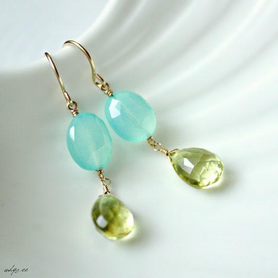 RIO - aqua blue chalcedony lemon quartz gold earrings