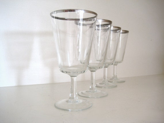 Vintage French Silver Rimmed Wine Or Cocktail Glasses 1960s